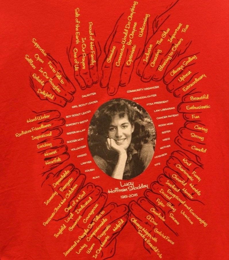 Robert Shockley is planning to deliver some of the team shirts, which feature Lucy's photo (taken prior to the couple's engagement in 1986) and a collection of words describing the many roles she played in life, to the GI cancer team this week.