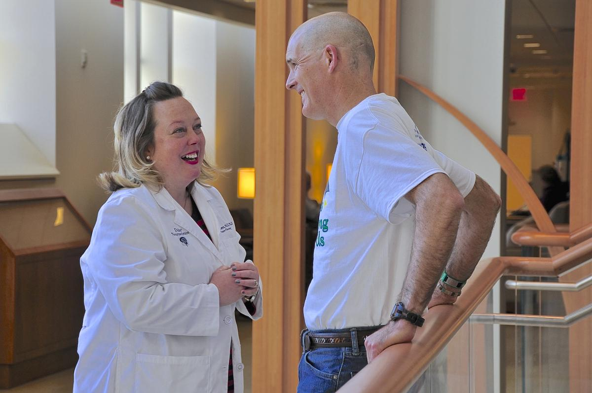 While on a recent visit to the Duke Cancer Center, O'Donnell takes a moment to chat with his neuro-oncologist Katy Peters, MD, PhD.