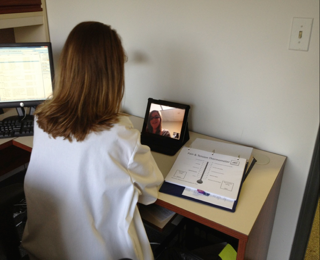 In preparation for a clinical trial (now completed), DCI clinical psychologist Tamara Somers, PhD, demo'd a Skype-based cognitive-behavioral therapy protocol that she and her team developed to help cancer patients manage their pain.