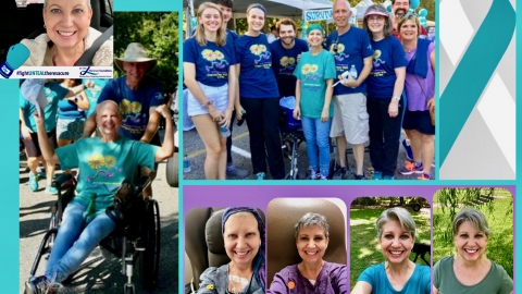 Collage of Kathy Jennings at the Ovarian Cancer Walk and in various stages of treatment