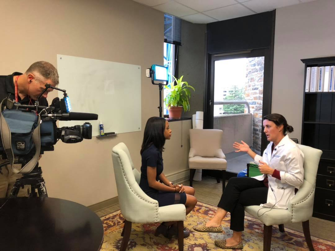 WRAL anchor/reporter WRAL Mikaya Thurmond interviews Rachel Greenup, MD, about incidents of breast cancer in younger women.