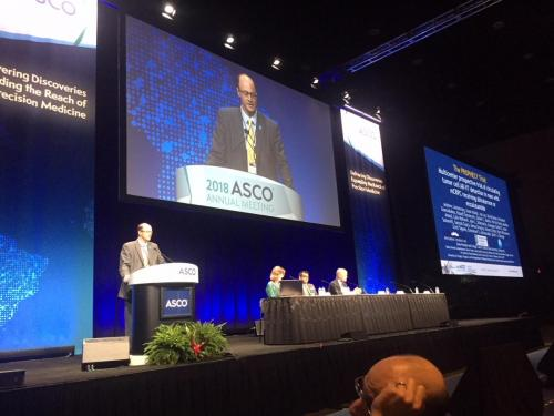 Andrew Armstong, MD, presents his findings at the 2018 Annual Meeting of the American Society of Clinical Oncology.