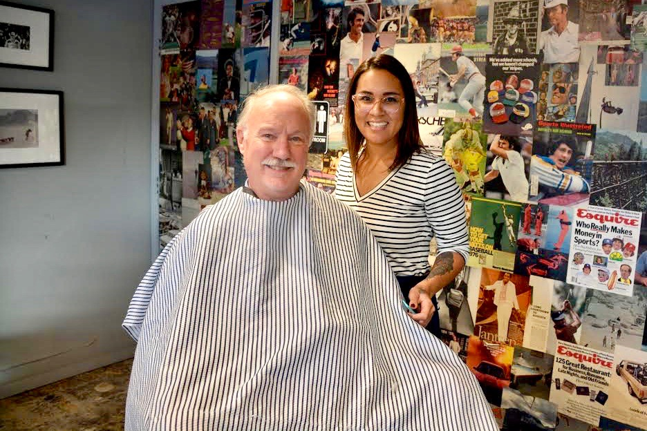Allen Spalt ready for a fresh shave at Pedro Williams + Arrow Haircuts for Movember 2017.