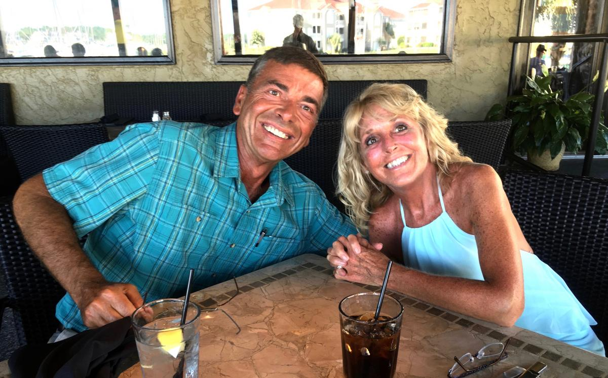 Dave and Lisa VanTress enjoy a nice dinner in July 2017-- the week before heading to Duke for Lisa's brain surgery.